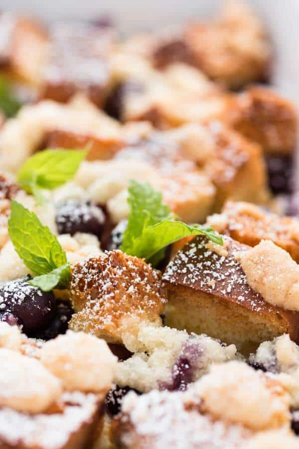 close up photo of blueberry French toast casserole