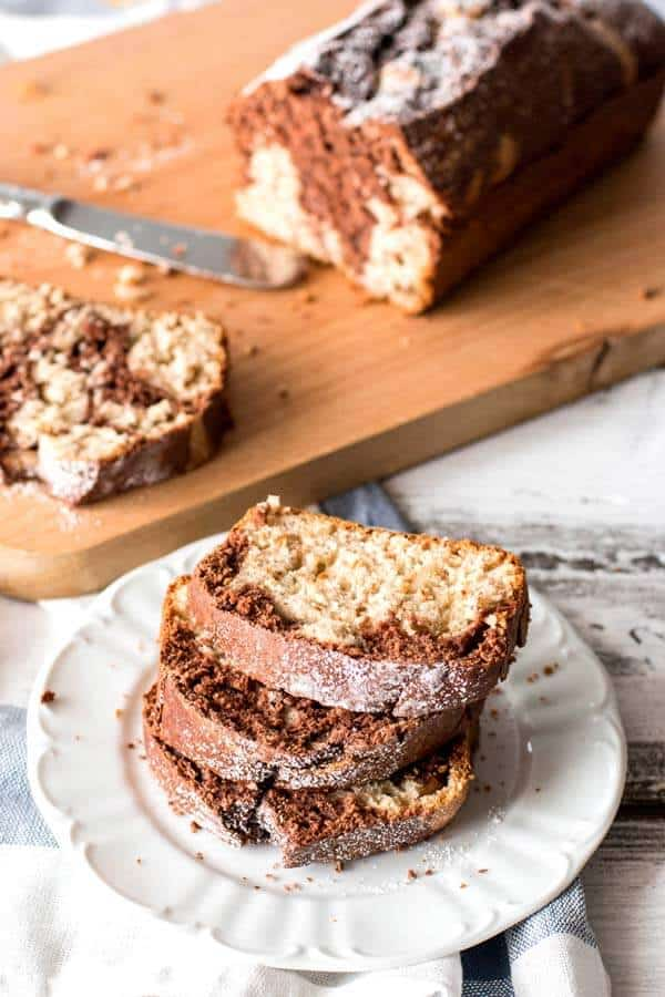 This super easy recipe for chocolate banana bread is my family's favorite! All made in one bowl - yes, even with that cute chocolate swirl!