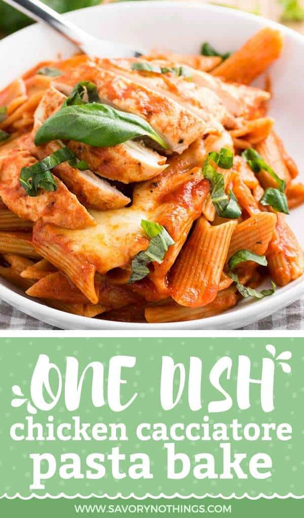 One of our favorite pasta bake recipes - no need to pre-cook the pasta! Everything comes together in one dish for this easy chicken cacciatore.