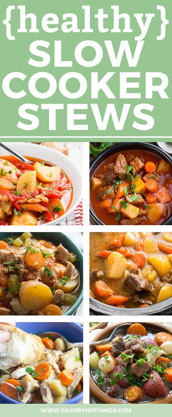 photo collage of healthy slow cooker stews