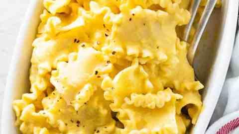 butternut squash pasta in white dish