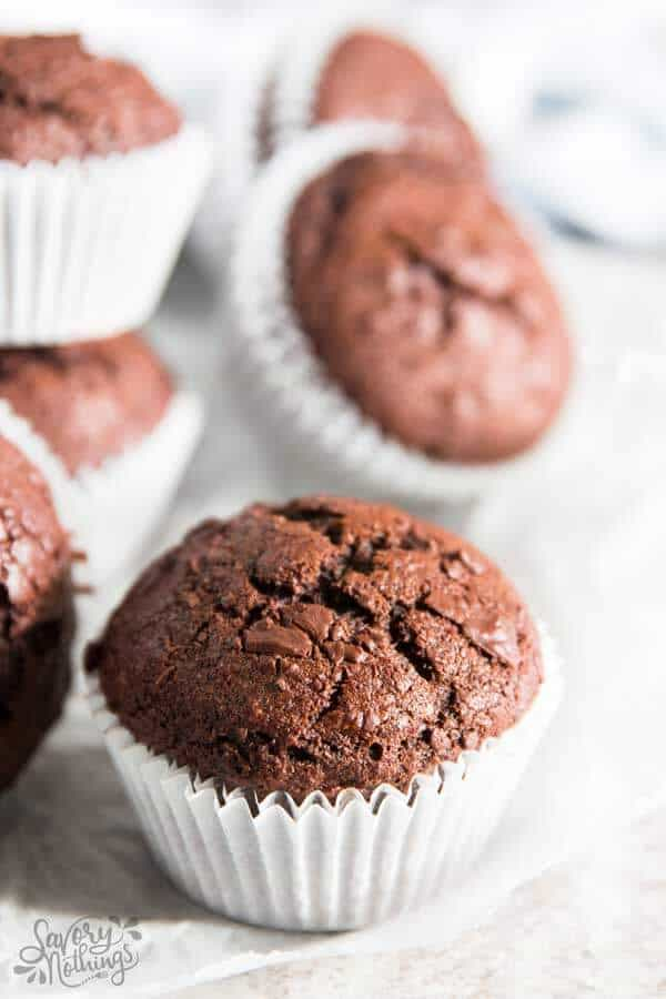These healthier chocolate banana muffins are so quick and easy to assemble.