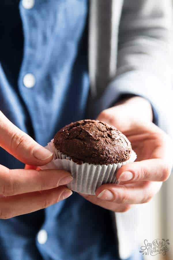 These healthier chocolate banana muffins make for the perfect lunch box treat.