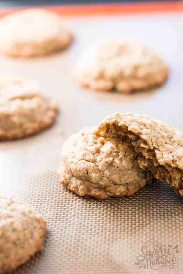Basic oatmeal cookies on cookie sheet