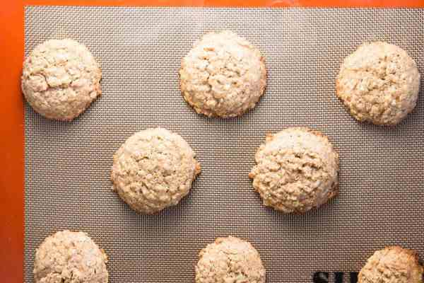 Oatmeal cookies fresh out of the oven.