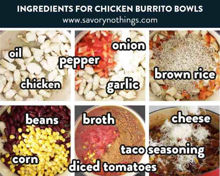 photo collage of burrito bowl ingredients