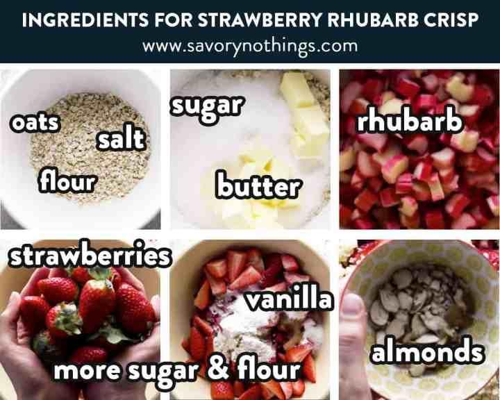 photo collage of strawberry rhubarb crisp ingredients