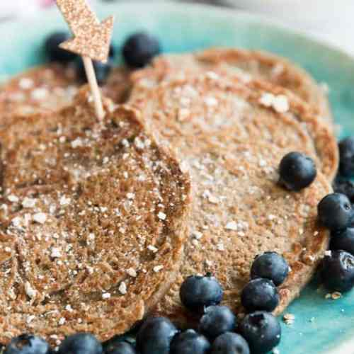 blue plate with healthy pancakes on it