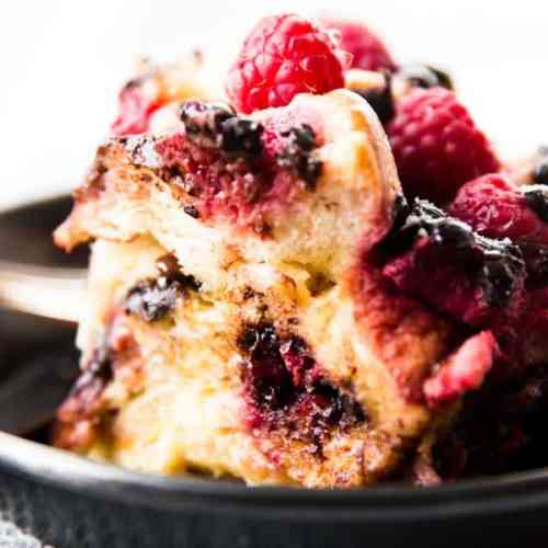 This Crockpot Raspberry Chocolate Chip French Toast Casserole is simple to prepare and cooks away in the slow cooker. Overnight or instant both works!