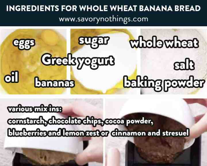 photo collage of ingredients for whole wheat banana bread
