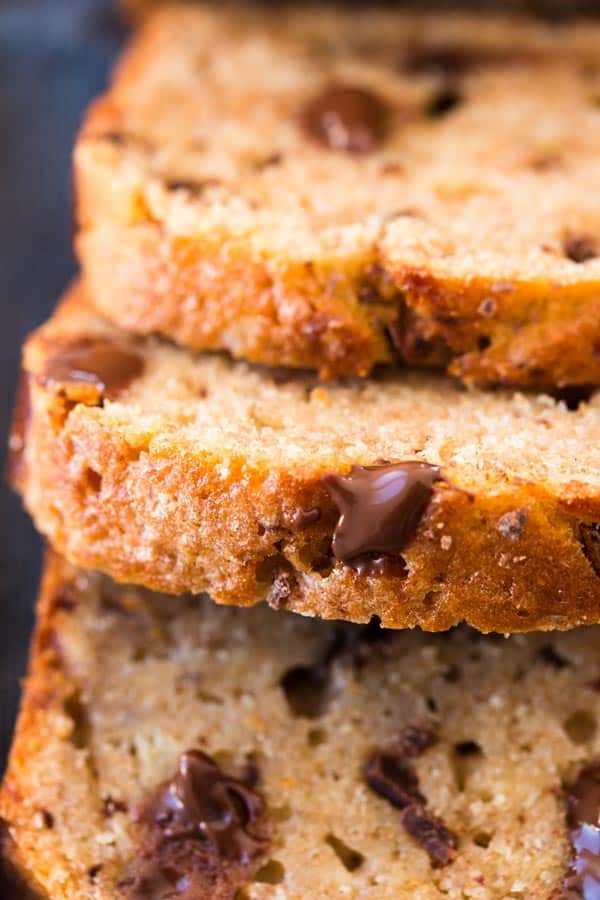 Easy and delicious, this Whole Wheat Chocolate Chip Banana Bread whips up in a single bowl! You can even freeze it to always have a delicious snack on hand.