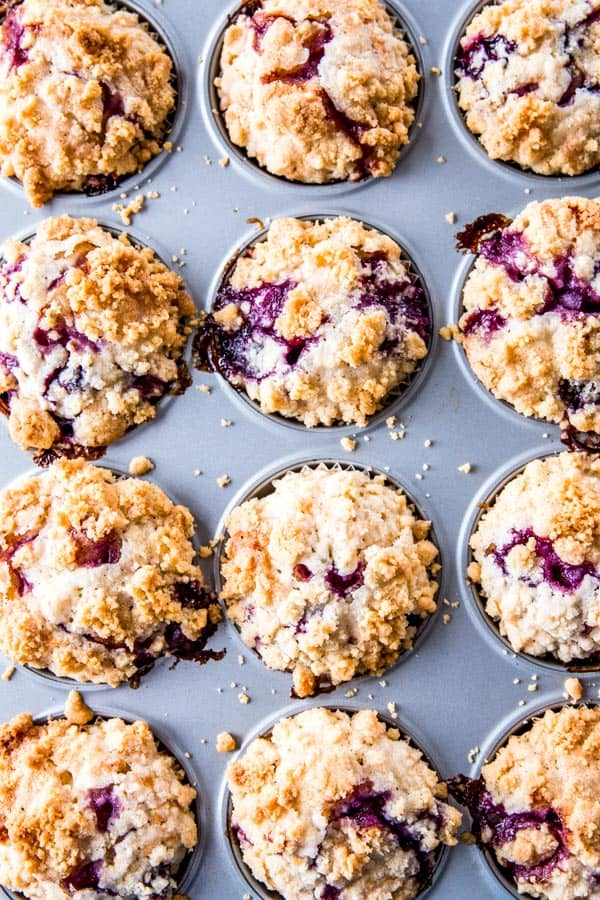 baked blueberry muffins with streusel in muffin pan
