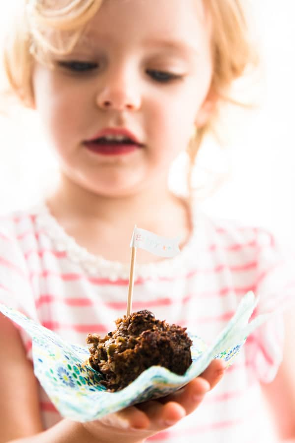 These Coconut Chocolate Zucchini Oatmeal Muffins are gluten free, dairy free, egg free and easily vegan if you substitute the honey with maple syrup or agave nectar. They're great if you're looking for healthy homemade snack recipes for kids and toddlers, or for healthy on the go breakfast ideas.