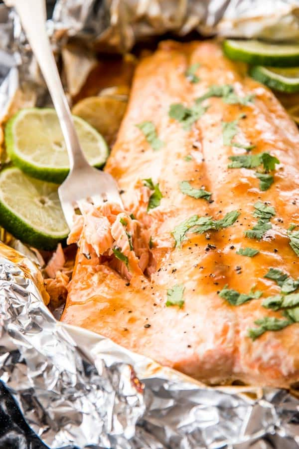 Honey Teriyaki Lime Salmon Baked in Foil is an easy, clean eating dinner recipe. Ready in 15 minutes!