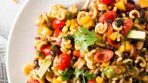 overhead view on Mexican macaroni salad on white plate