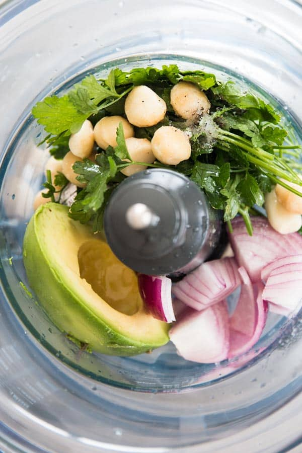 ingredients for avocado dressing in food processor bowl