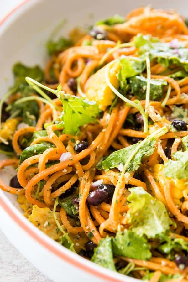 close up of sweet potato noodle salad