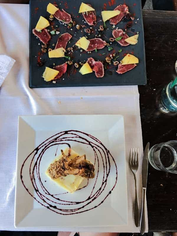 Dinner at Al Donizetti's, a great restaurant in Bergamo, Italy.