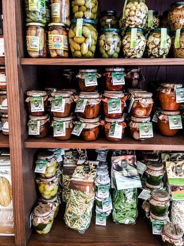 Delicacies from Salumeria Gastronomia Angelo Mangili in Citta Alta of Bergamo, Italy.
