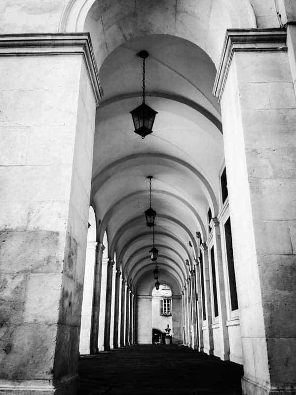 stone corridor in black and white