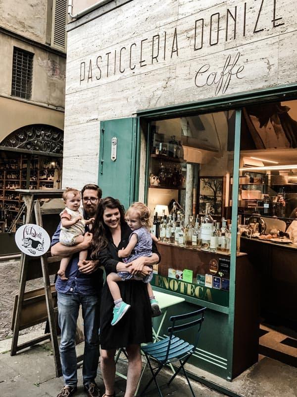 Outside Al Donizetti's, a great restaurant in Bergamo, Italy.