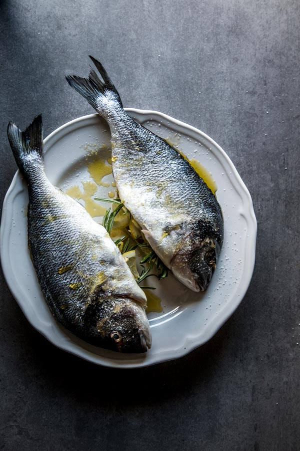 Whole fish read to be baked in the oven.