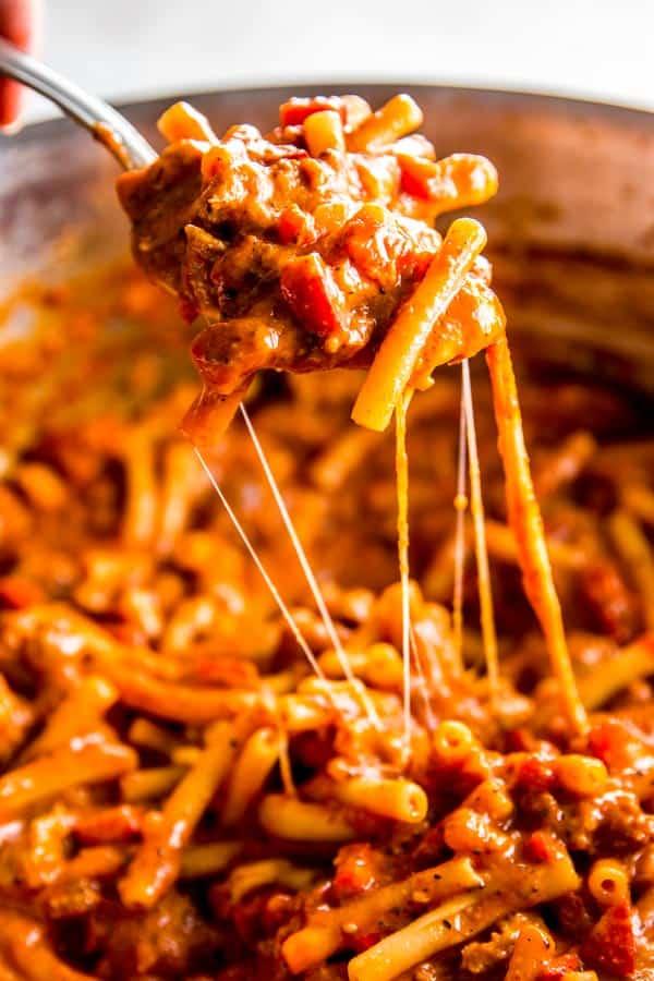 spoonful of Italian sausage pasta
