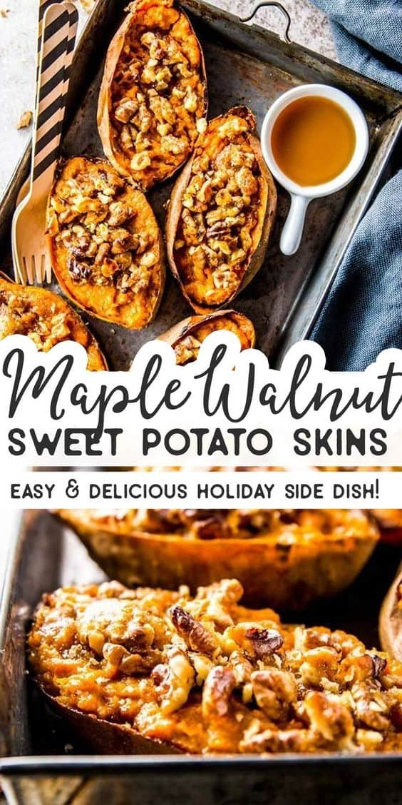 These twice baked brown sugar maple walnut sweet potatoes are the perfect spin on sweet potato skins! They're made healthy with maple syrup and Greek yogurt and are so easy to put together. They a great gluten free and vegetarian idea for a new Thanksgiving side dish on your holiday dinner table. | #recipe #easyrecipes #sidedish #thanksgivingfood #fall #fallrecipes #maple #sweetpotato #thanksgiving #thanksgivingdinner #holidayfood