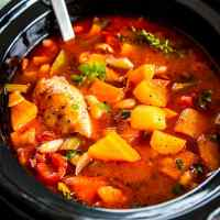 Tuscan White Bean Crockpot Chicken Stew ready to be served. This dinner is full of flavor!
