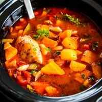 Tuscan White Bean Crock Pot Chicken Stew Savory Nothings