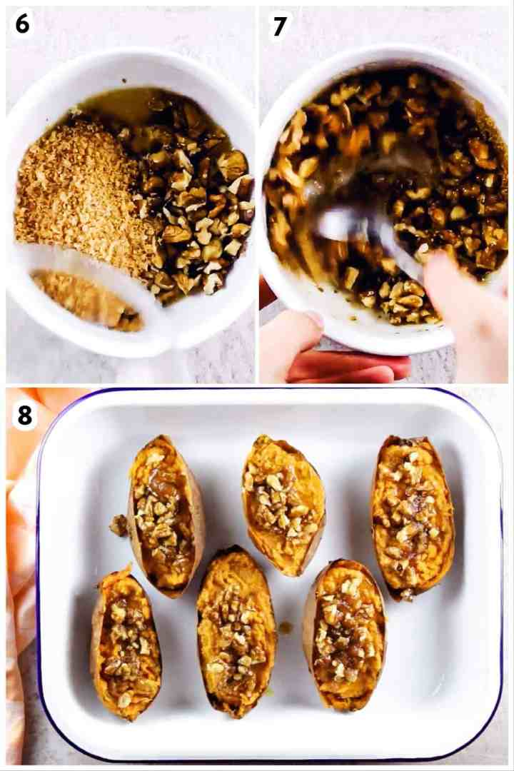 collage to show assembling topping for twice baked sweet potato skins