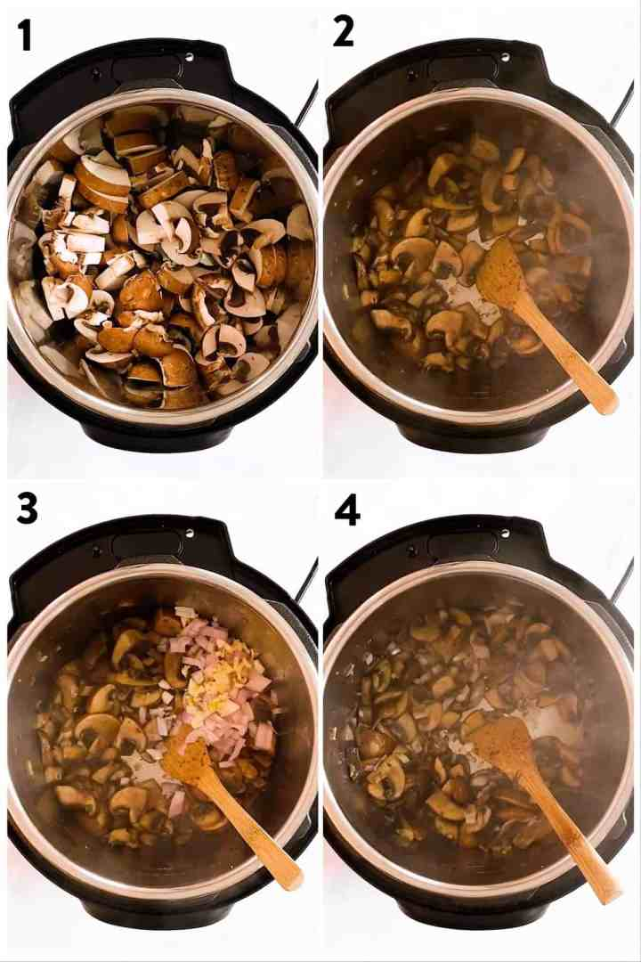 collage of photos to show sautéing mushrooms and onion in instant pot