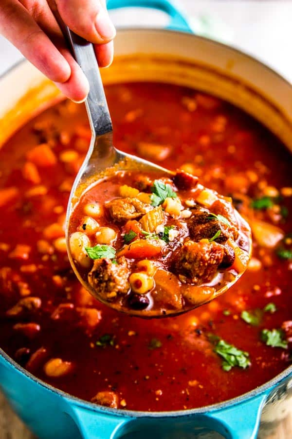 Pasta Fagioli Soup is easy to make, tastes incredible and is the perfect cozy comfort food for chilly fall and winter days!