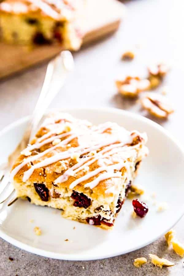 This Cranberry Walnut Coffee Cake is easy to make and tastes delicious. Perfect for Christmas!
