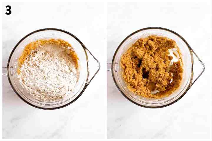 photo collage to show how to combine molasses cookie dough
