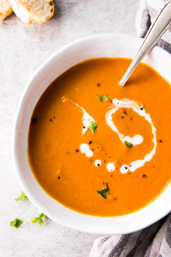 Easy tomato soup in a bowl from above.