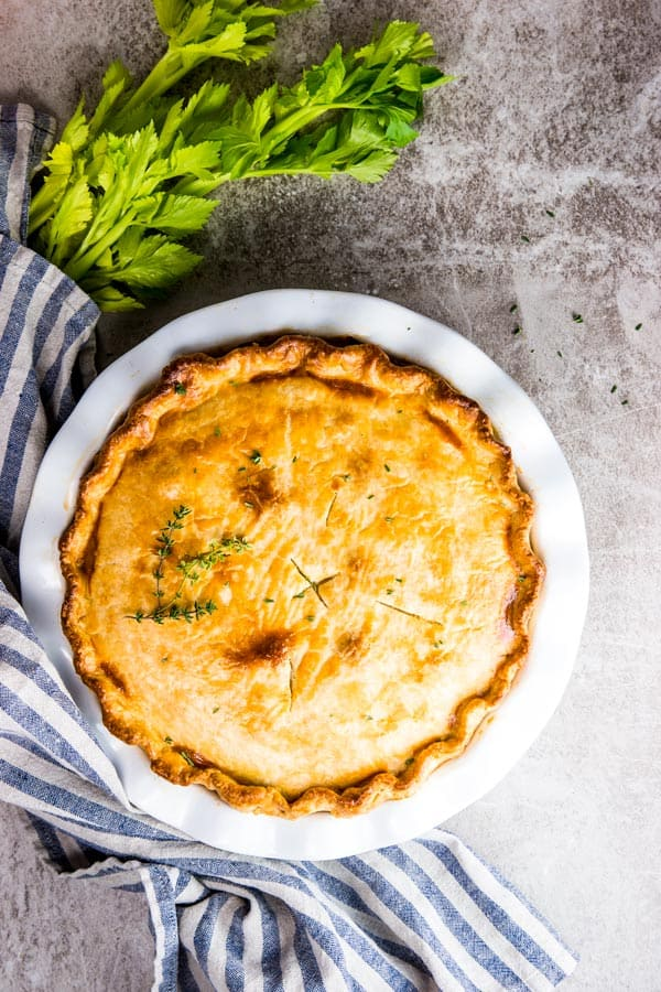 Homemade chicken pot pie, fresh out of the oven.