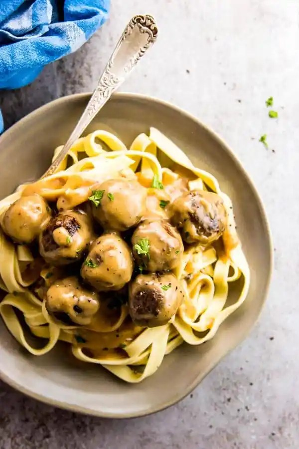 Homemade Swedish Meatballs over egg noodles.
