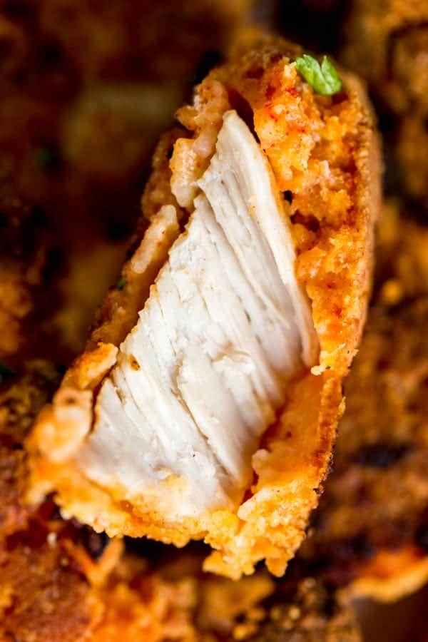Inside of buttermilk oven fried chicken.
