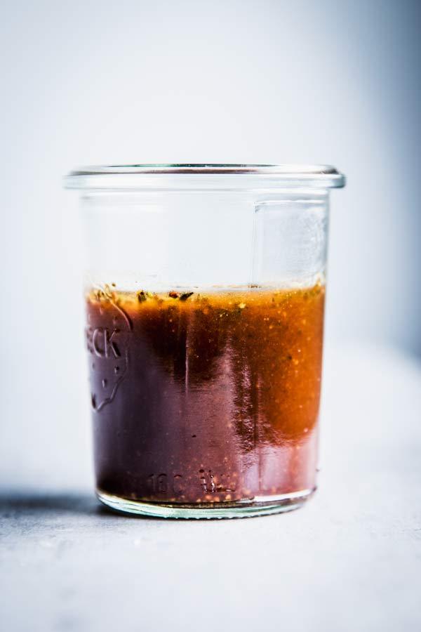 Balsamic Vinaigrette Dressing in a glass jar.