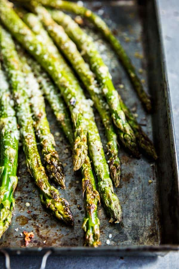 Close up of garlic parmesan roasted asparagus.