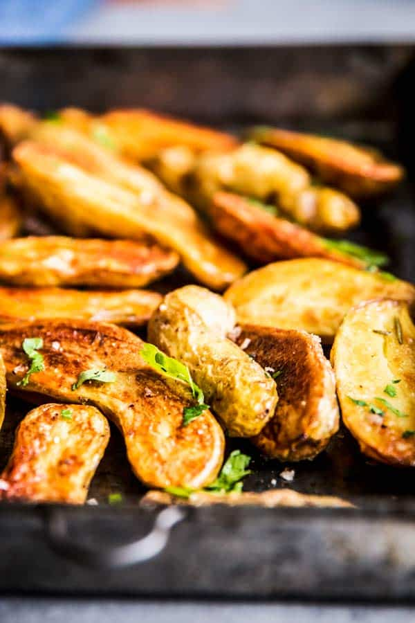 Closer look at Roasted Fingerling Potatoes.