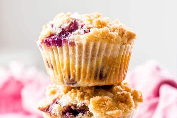 Blueberry Crumb Muffins with Lavender close up photo
