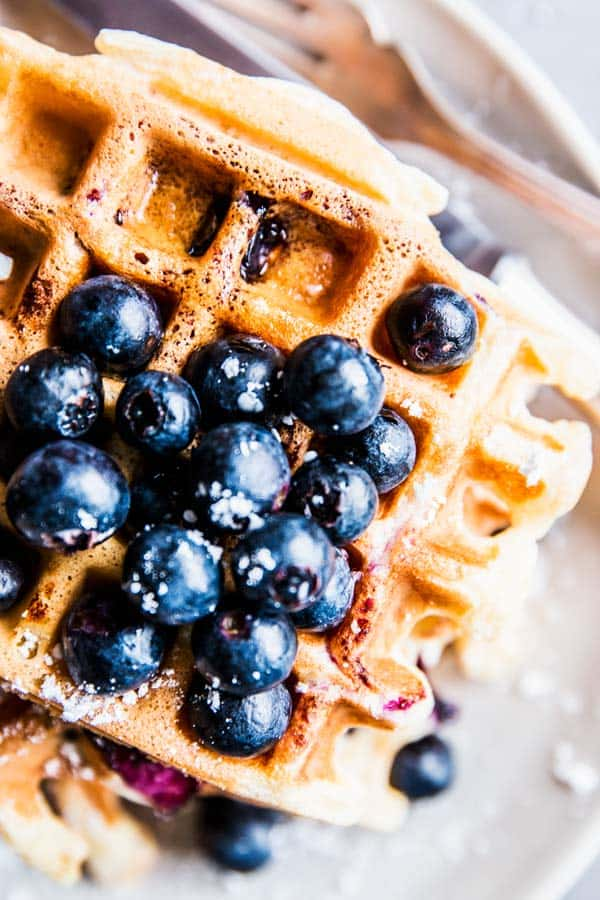 Close up photo of blueberry waffles.