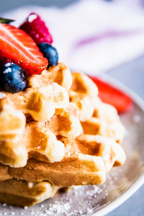 Fluffy Buttermilk Waffles, close up photo.
