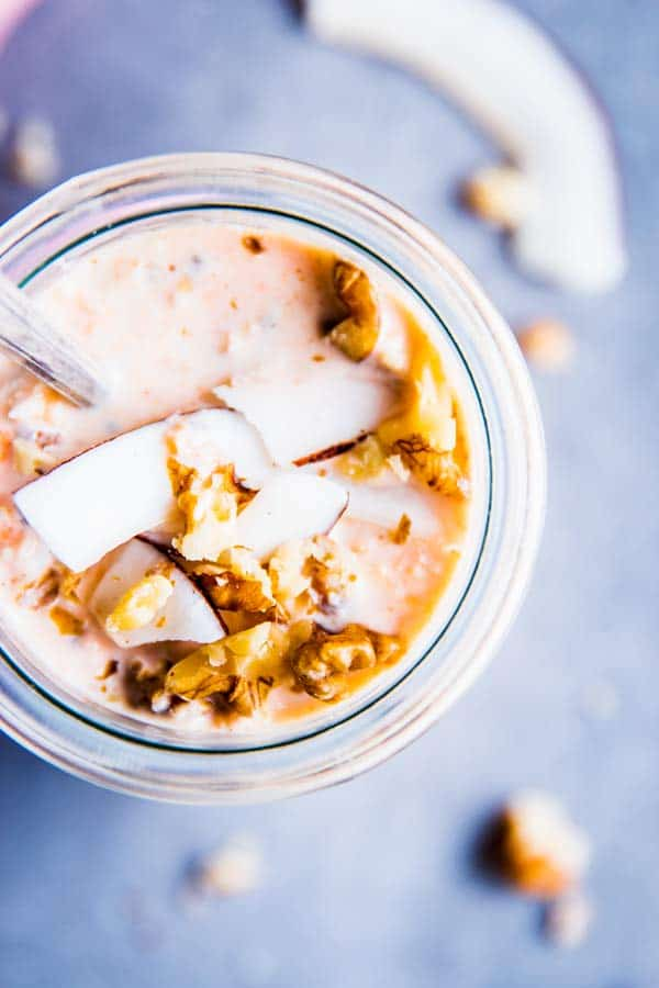 Carrot Cake Overnight Oats in a jar from above.