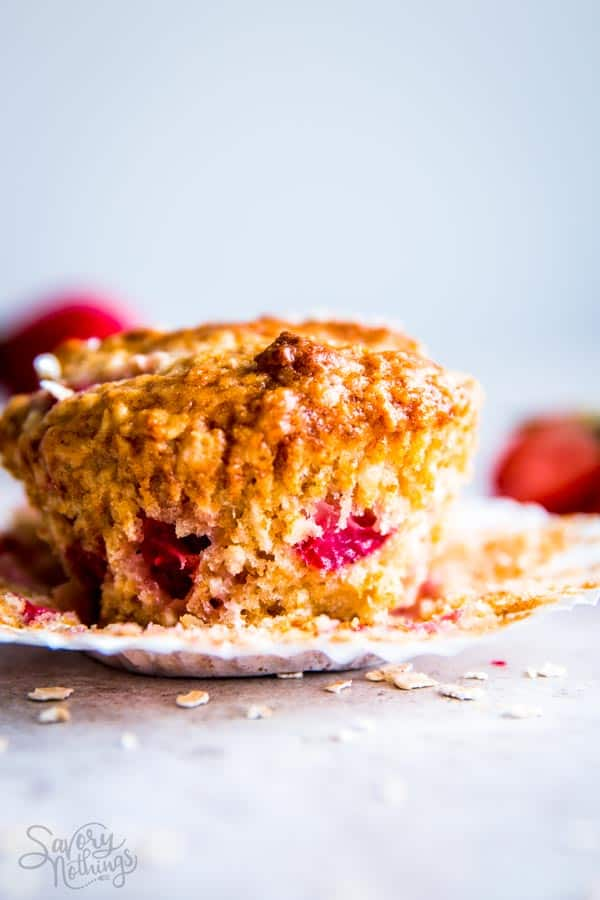 Strawberry Oatmeal Muffin with the paper liner removed