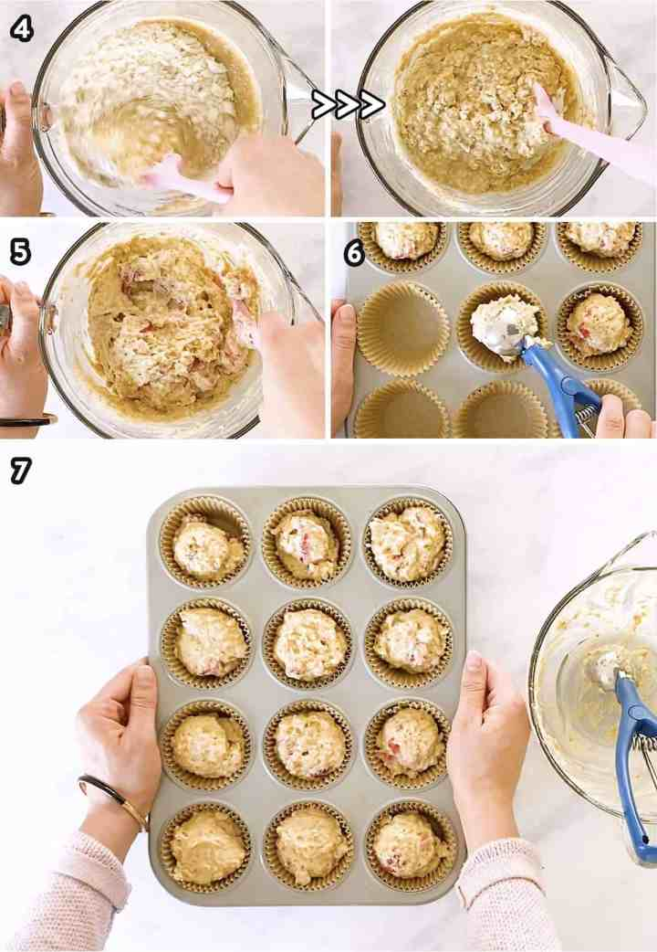 collage of step images to make the batter for strawberry oatmeal muffins