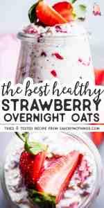 Strawberry Overnight Oats Pinnable Image