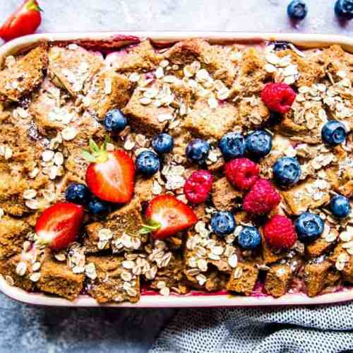 berry french toast bake in a casserole dish